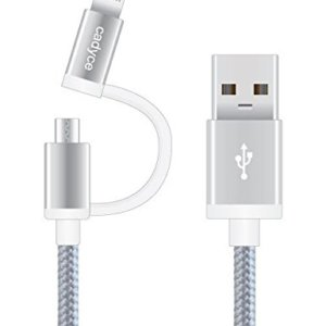Cadyce Cadmium CA-ULCM 1-Meter USB to Lightening and Micro USB 2-in-1 Cable (Silver)