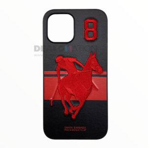 Leather Santa Barbara Polo Racquet Jockey iPhone 12/12 Pro Series – Black
