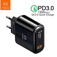Mcdodo CH-717 LED Digital Display Dual Port Output PD Travel Charger PD3.0 QC3.0 18W Quick Fast USB Charge